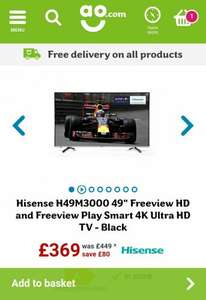 "Hisense H49M3000 49"" Freeview HD and Freeview Play Smart 4K Ultra HD TV - Black - £349 (with code) @ AO"