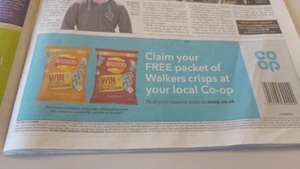 Free packet of Walkers crisps from Co-op (Voucher in Metro)