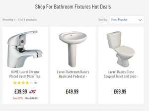 Close coupled push flush toilet & seat, mixer tap & basin and pedestal for £99.99 instead of £159.97 plus add 5p carrier bag and get £10 voucher @ Argos