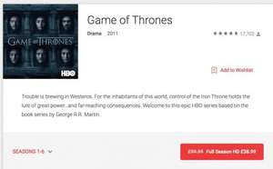 Game of Thrones 1-6 HD Boxset Digital – Google Play UK - £38.99! 60% OFF!