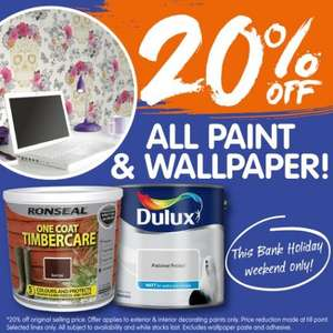 20% Off All Paint & Wallpaper @ B&M This Weekend -   e.g  5lt White Dulux Emulsion only £8.00