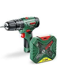 Bosch Cordless 10.8V Hammer Drill £45 plus get a free 34 Piece Accessory Set at B&Q