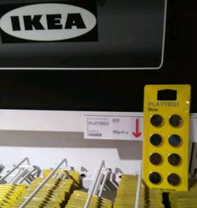 IKEA instore and online - Plattboj lithium 3V button battery CR2032 8xpieces  for £0.95