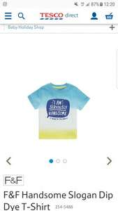 Boys F&F Handsome Slogan Dip Dye T Shirt Tesco Online for 50p