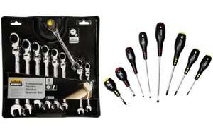 Halfords Advanced 9 pc ratchet spanners + 8 pc screwdriver set (free) for £40