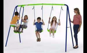 Multiplay kids swing set with 2 swings and 2 seater glider £40 & Child's motorised quad for £30 - bank holiday specials @ Asda