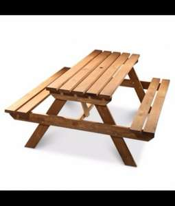 AGAD WOODEN 6 SEATER PICNIC TABLE £55 @ B&Q (CLUBD86S4 10 off 50 code gets down to £55.00)