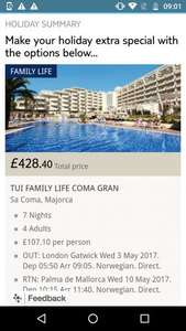 From Gatwick: Last Minute 4* Thomson TUI FAMILY LIFE Coma Gran Majorca for family of 4 £107.10pp Inc flights, luggage, transfers @ Thomson