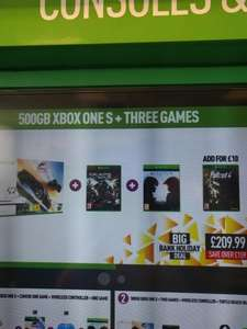 Xbox one S 500gb Forza Horizon​ 3 bundle with Gears of War 4,  Halo 5 and Fallout 4 Bank Holiday Special £219.99 @ GAME instore