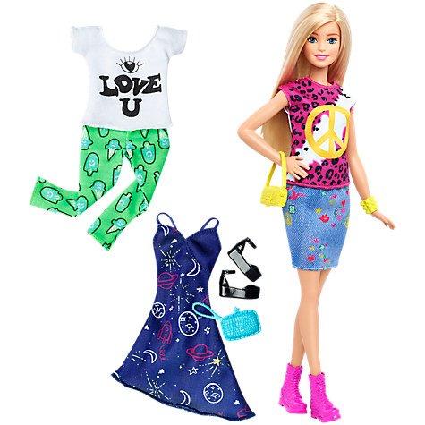 Barbie Fashionistas and Fashion Sets.  £8.00 John Lewis (£19.99 in toysrus)