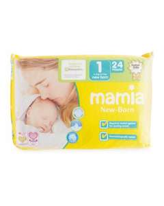 Pack of 24 Mamia size one newborn nappies were £1.49 now £1.15 delivered & size 2 44 pack for £2.39 delivered @ Aldi