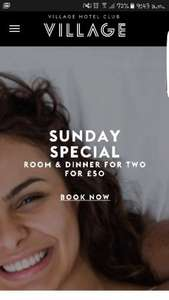 Sunday specials - Overnight stay and 2 course dinner for 2 for £50 @ Village Hotels