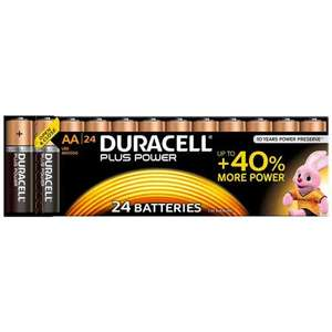 Duracell Plus Power AA Batteries – Pack of 24 with code £8.49 Free C&C @ Robert Dyas