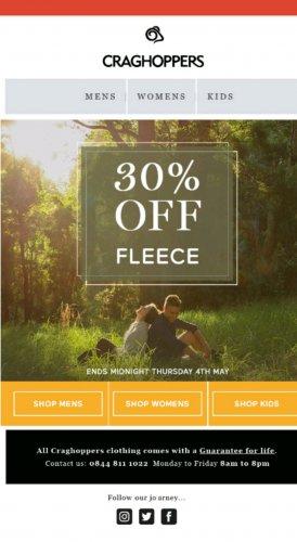 Craghoppers 30% off fleeces until Thursday.