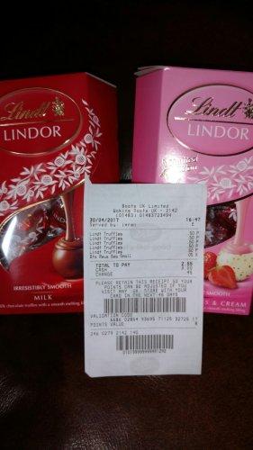 Lindor Milk/Strawberries & Cream Truffles 200g only 50p also Ferrero Rocher 16 Piecesfor £1 instore @ boots