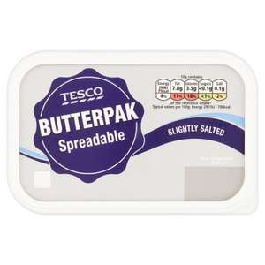 Tesco Butterpak Spreadable Slight Salted/ Light 500g 2 for £3 @ Tesco