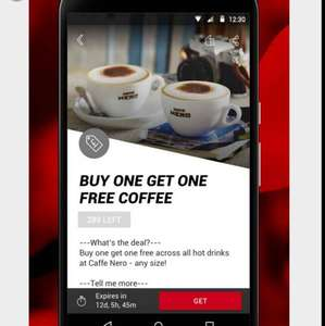 Caffè Nero, Buy one get one free via Virgin Red app