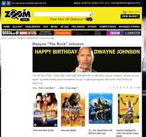 """15% off code """"DWAYNE15OFF"""" Fast & Furious, WWE, 50+ Titles starring Dwayne """"The Rock"""" Johnson @ Zoom"""