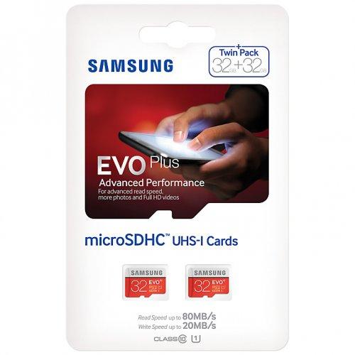 Samsung EVO Plus Advanced Performance microSDHC UHS-I Memory Card, 32GB, 80MB/s Read Speed, Twin Pack @ John Lewis £15.98 including C&C