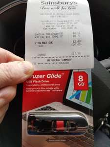 SanDisk 8gb Cruder Glide USB 2.0/3.0 Flash Drive £2.10 Sainsbury's Ecclesall Rd Sheffield