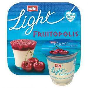 Muller light fruitopolis Greek style yogurt cherry, strawberry, passionfruit and peach 4 pack just £1 was £2.50 @ Morrisons