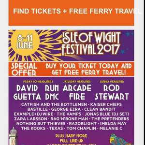 FREE ferry travel with a Isle of Wight festival ticket £200 ticketmaster