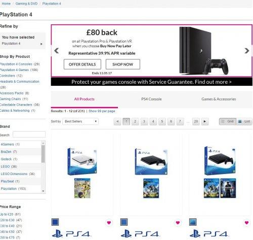 PS4 Pro OR PSVR £269.99 @ Very BNPL