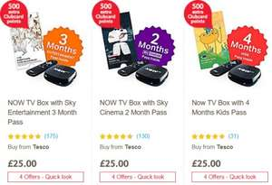 Now TV Boxes instore and online at Tesco £25 with 500 extra Clubcard Points (Worth up to £20)