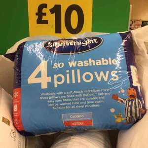 Four Silentnight pillows £10.00 in store Morrisons Ty Glas, Cardiff