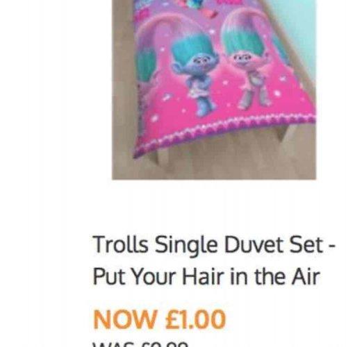 Trolls single duvet set £1 in B&M Nantwich