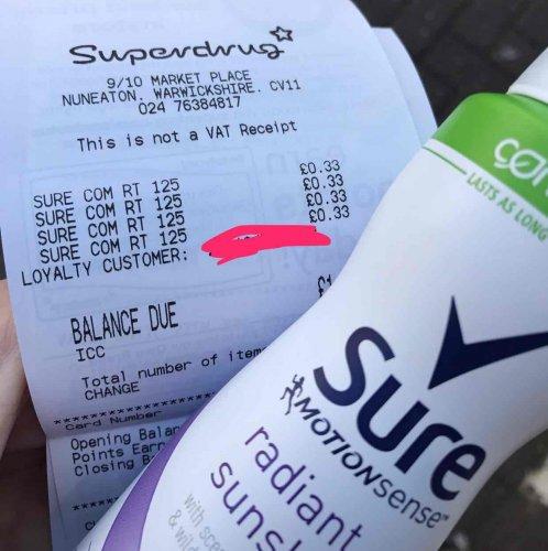 sure deodorant 33p at Superdrug