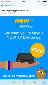 FREE Now TV Box (Check e-mail if subscribed to a Now TV service)