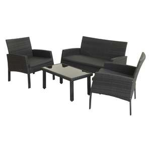 4 Piece Rattan Effect Black Garden Furniture 2 Chairs, 2 Seater Sofa & Coffee Table £120 instore @ Bargain Buys