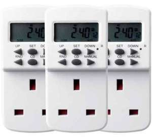 Triple Pack Masterplug  7-Day Electronic Timers £11.99 @ Argos