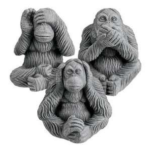 Charlie dimmock ceramic monkeys (hear no evil, speak no evil, see no evil) £1 each at Poundland