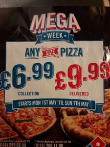 Dominos any size pizza just £6.99 when collected @ dominos