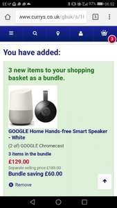 ITS BACK... Google Home PLUS 2 Chromecasts PLUS 3 months FREE Google Play Music for £119.00 delivered with code from Currys