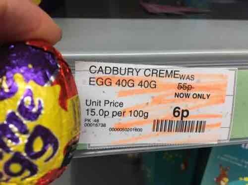 Cadbury creme egg at coop 6p (Mitcham)