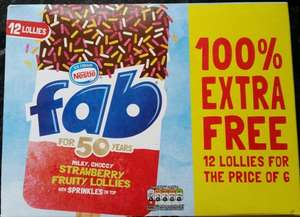 Box of 12 Nestle Fab Lollies or Rowntrees Fruit Pastilles Lollies (6 pack with 100% extra free) £1.99 at Lidl