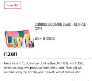 Free Bold & beautiful gift set when you buy two products from Clinique at Lookfantastic