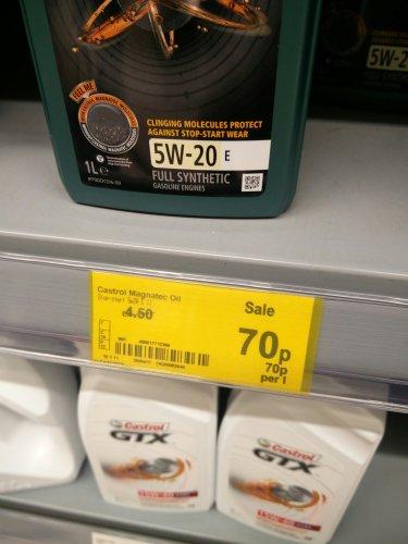 Castrol magnetic oil 5w20 £0.70 asda govan instore