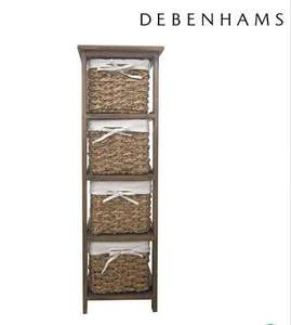 Debenhams Brown wicker 'Olympia' tall 4 drawer chest (Was £120.00) Now £39.49 delivered at Debenhams
