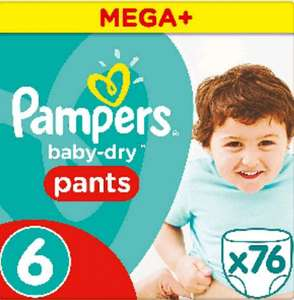 ***Pampers size 6 easy up pants 76 pack £7.60 S&S @ Amazon***
