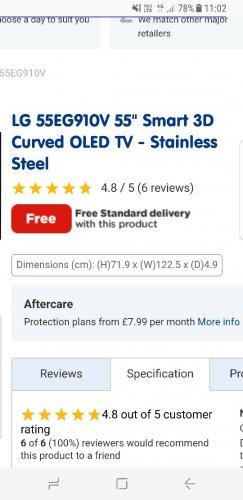"""LG 55EG910V 55"""" Smart 3D Curved OLED TV £1099  - bootskitchenappliances"""