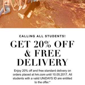 """H&M 20% off & Free delivery with UniDays """"students only"""" valid untill 10th 05 17"""