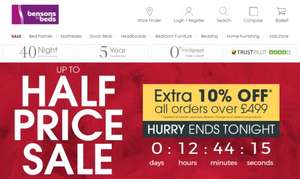 10% off ALL orders over £499 + EXTRA 10% off w/code + 7% Cashback [ENDS TONIGHT] @ Bensons for Beds