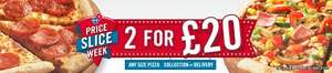 Any 2 Large Pizzas for £20 @ Dominos