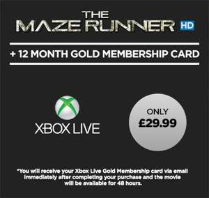 [Xbox] 12 Months Xbox Live Plus The Maze Runner HD - £29.99 (Wuaki)