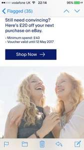 £20 off eBay £40 spend for selected accounts