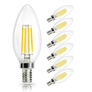 E14 LED Candle Filament Bulbs 4W, (40W equiv), Warm White, Non-Dimmable, 470Lm, 6-Pack - £9.99 Prime / £13.98 Non-Prime Sold by SHINE HAI Direct(EUR Seller) and Fulfilled by Amazon.